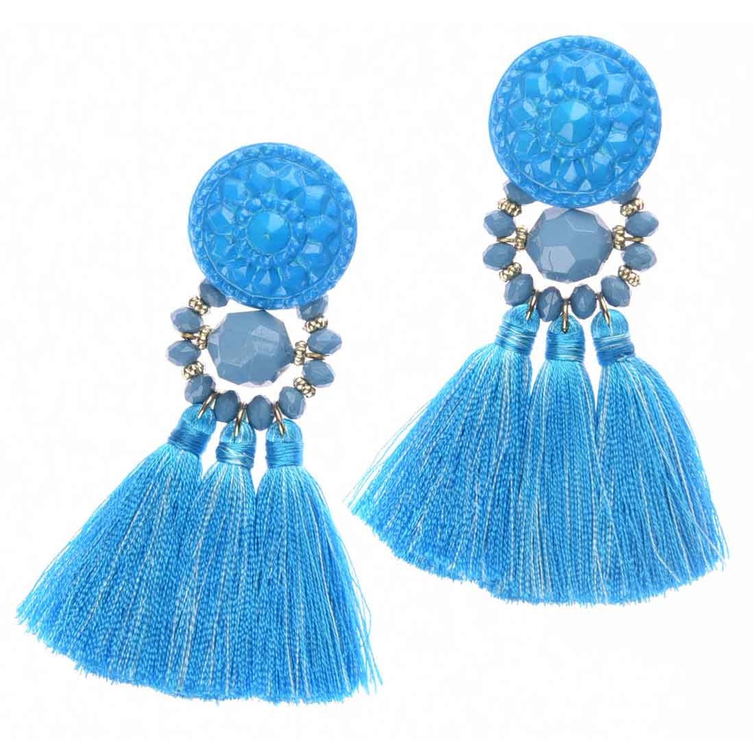 Beads India Faded Denim Tassel Girls & Women 1405285 Earrings
