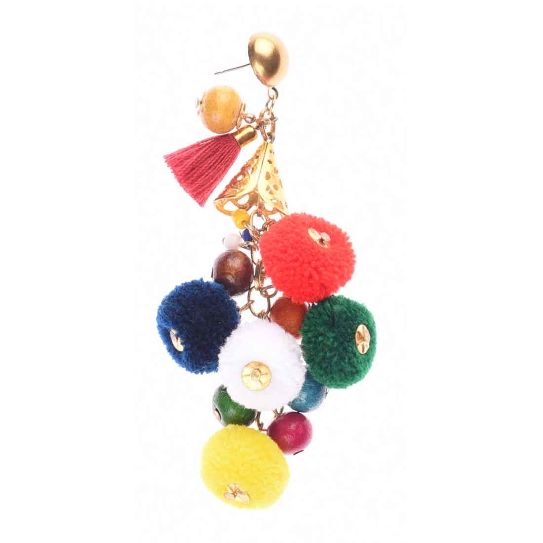 Beads India Multi Pom Pom Girls & Women 1405401 Earrings