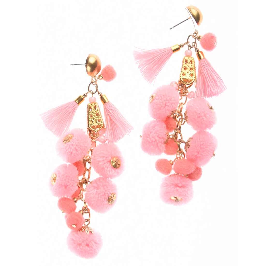 Beads India Pink  Pom Pom Girls & Women 1405402 Earrings