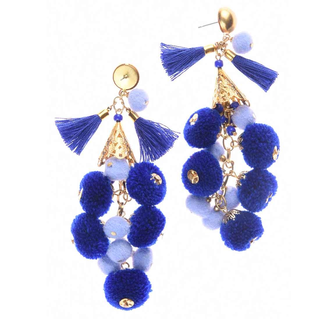 Beads India Blue Pom Pom Girls & Women 1405403 Earrings