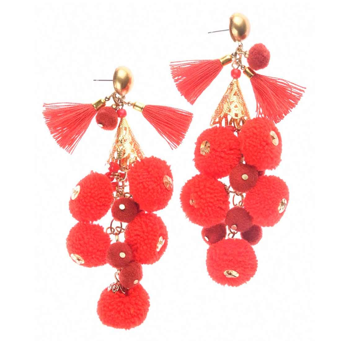 Beads India Red Pom Pom Girls & Women 1405403 Earrings