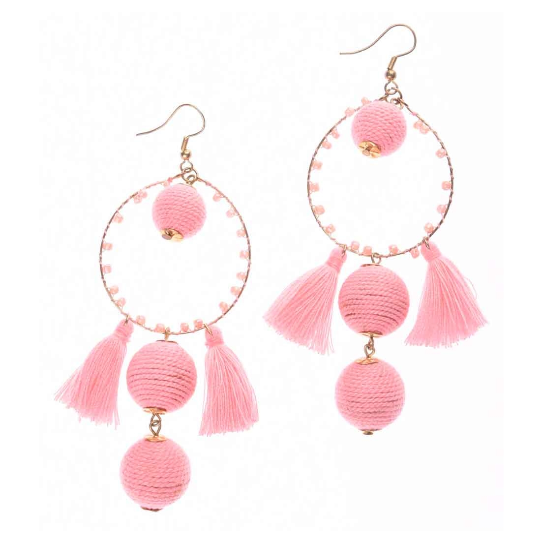 Beads India Pink  Ball Tassel Girls & Women 1405448 Earrings