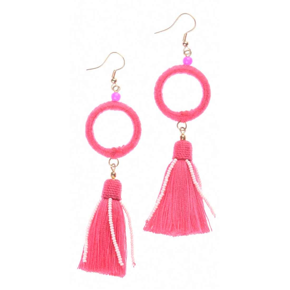 Beads India Pink Circle Tassel Girls & Women 1405393 Earrings