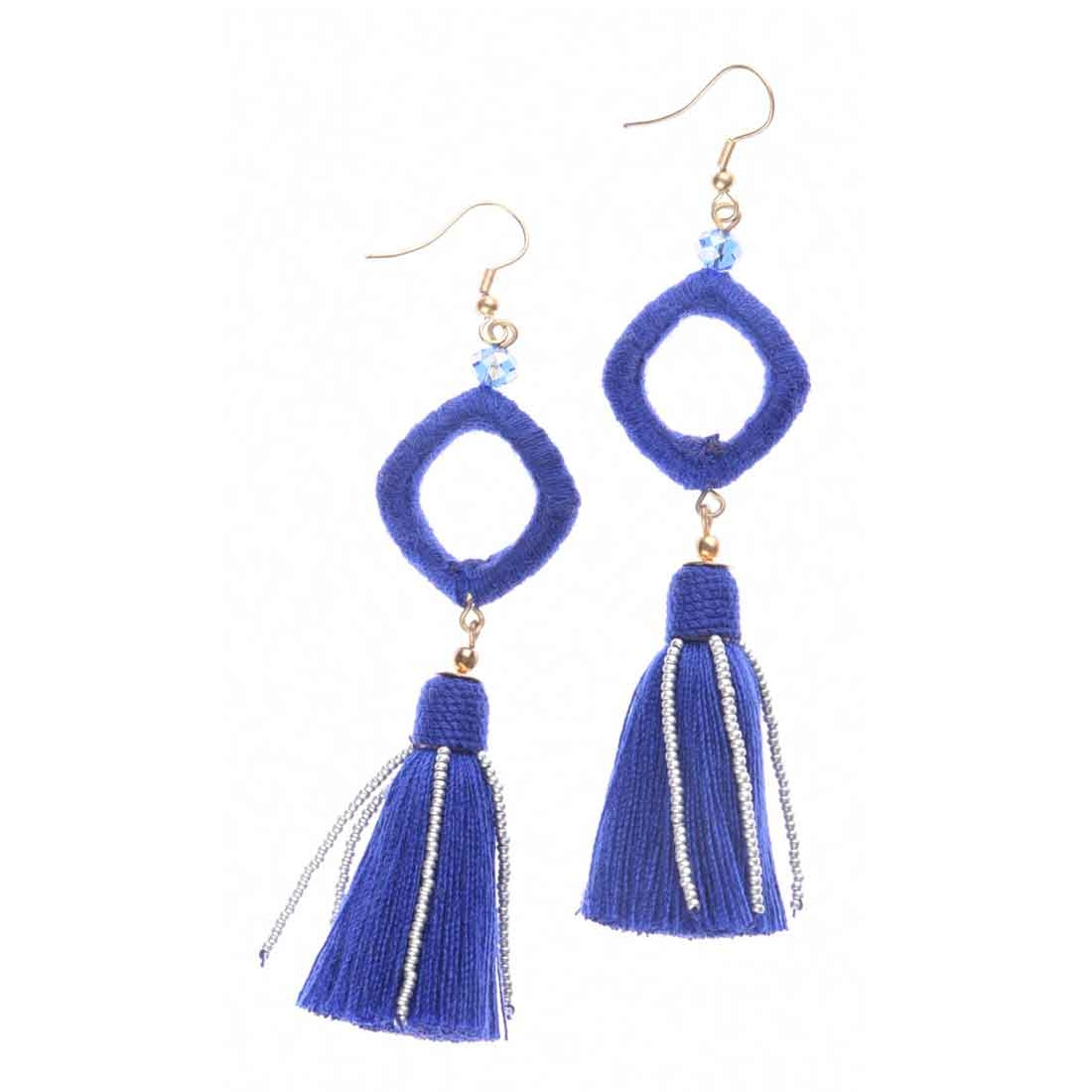 Beads India Square Tassel Girls & Women 1405396 Earrings