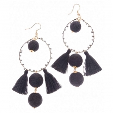 Beads India Black Ball Tassel Girls & Women 1405448 Earrings